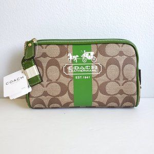 NEW Coach Heritage Stripe Signature Cosmetic Bag